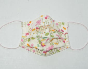"""Premade Pleated Double Gauze Facial Mask for Teens/Adults """"Long Stem Flowers"""" Pink & Tio Tio Antibacterial Gauze"""" Size S"""