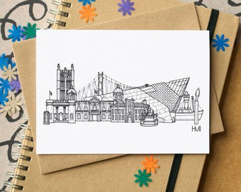 Hull Landmarks Greetings Card - Hull Skyline Art - Kingston upon Hull Art - blank Hull card - card for Hullensian - Yorkshire card