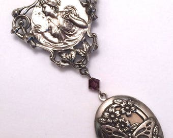 Locket Brooch Pididdly Links Art Nouveau Revival