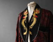 Satin Velveteen Dragon Embroidered Smoking Jacket Gown Unisex Large