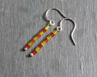 red and yellow tiny bead silver plated hook earrings