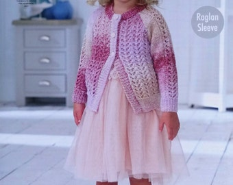 Girls Knitting Pattern K4739 Childrens Long Sleeve Round Neck Lacy Cardigan Knitting Pattern DK (Light Worsted) King Cole