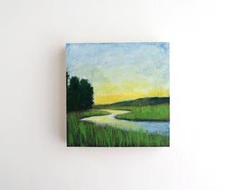 River Mixed Media Painting - 4 x 4