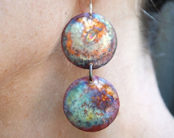 Copper Earrings - Flame Painted Copper Earrings - Double Circles - Christine Chandler - Copper Jewelry - Copper Earrings - Copper