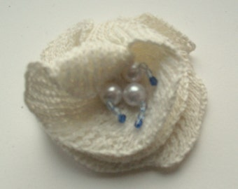 Flower Brooch Romantic rose snow white blue azure with Pearl
