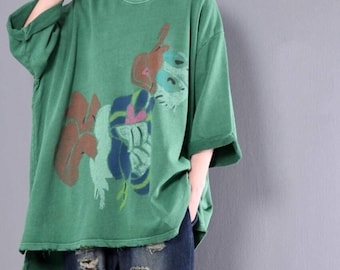 Loose Fitting Cotton Oversize T-Shirt Large size Bottoming shirt In dark gray/ green
