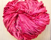 Sari Silk Ribbon Hand Dyed in Sunset Shades Worm Goo by Pen and Hook