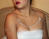 Rose gold should necklace, rose gold, Shoulder Necklace, Wedding Shoulder. Rose gold Rhinestone Crystal. Necklace Fits Perfect On Your Neck