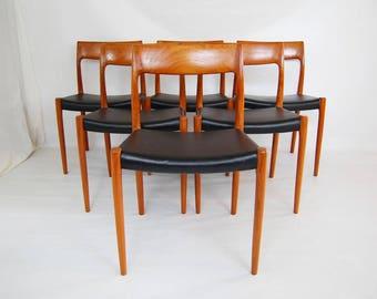 SALE: Danish Modern J L Moller Model 77 Teak Dining Chairs - Set of 6