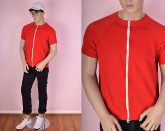 80s Red Zip Up Sweatshirt/ Large/ 1980s/ Raglan Sleeve