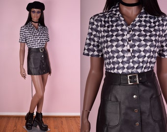 70s Psychedelic Print Shirt/ Medium/ 1970s/ Short Sleeve