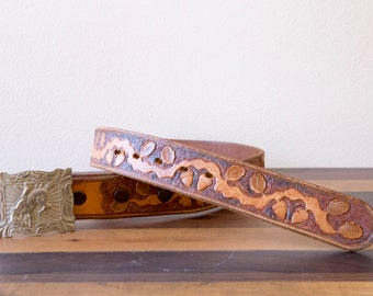 50s 60s 70s La Nell Hand Tooled Leather Western Belt Size Small