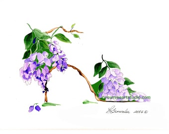 Purple Wisteria Flower Shoe 2006-2016 Print - Signed & Enhanced with Paint. Free Shipping - Wall Art
