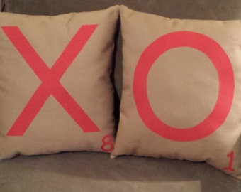 Valentine Pillows, XO Pillows, Scrabble Tile Valentines Pillows, XO Love Scrabble Pillows