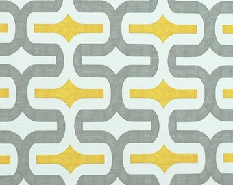 Yellow Gray White Geometric Curtains Embrace - Rod Pocket - 63 72 84 90 96 108 120 Long x 25 or 50 Wide