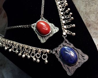Lapis Lazuli & Red Jasper framed stones in ornate settings on Silver Chains Necklaces
