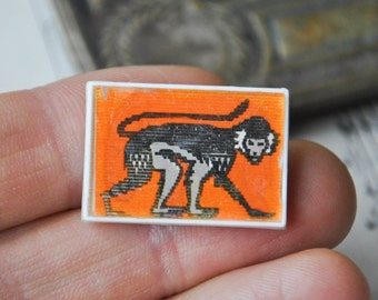 "Vintage Soviet Russian plastic stereo badge,pin. ""Monkey-Elephant"""