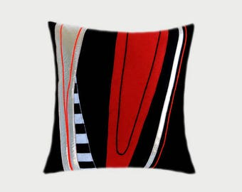 "Decorative Pillow Case, Black, Red, Silver fabrics combination Throw pillow case, fits 18""x18"" insert, Toss pillow case"