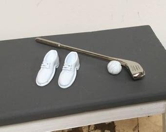 Golf club, ball and shoes, Dollhouse miniature