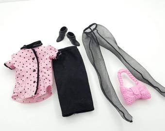 Barbie fashion Casual Office Wear pink polka dots  Outfit 11 inch dolls