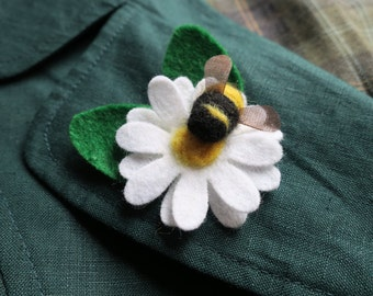 Daisy and Bee lapel pin brooch badge. Handcrafted Needle felted Spring Easter Mother's Day gift. Donation to Bumblebee Conservation