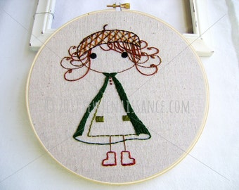 Embroidery Design  PDF Pattern Little Woodland Girl Acorn Hat Cloak