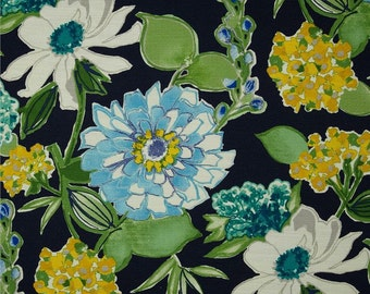 "Two 96"" x 50""  Custom Curtain Panels - Rod Pocket Panels - Large Floral - Black Yelliw Green Blue"