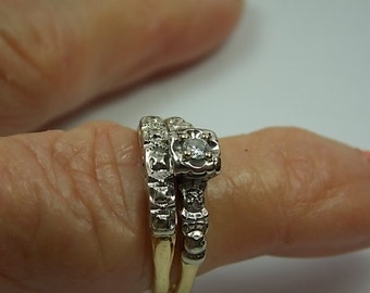 1940s Diamond Bridal Set .12Ct WG/YG 14K 4.4gm Size 7