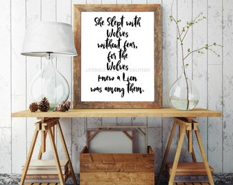 She Slept with Wolves Print, Wolf Wall Art, R.M.Drake, Instant Digital Print, Print Download, 8x10 Digital Print, INSTANT DOWNLOAD