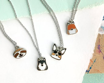 BFF Necklaces, Fox Necklace, Wolf Jewelry, Best Friend Necklace, Best Friends, Tiny Jewelry, Small Pendant, Sloths, Gifts for Friends, Tiny