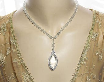 Art Deco 1930's Sterling Silver & Rhodium Filigree Necklace Pretty Clear Glass Crystals
