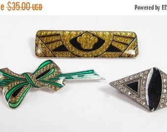Spring Cleaning SALE Vintage PIERRE BEX Deco Style Rhinestone Enamel Pin Brooch Lot Bow Bar Diamond