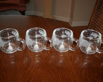 Set of Four 4 Vintage Nestle Glass Globe Mug