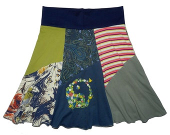 Yin Yang Women's Medium Large Boho Chic Hippie Skirt upcycled t-shirt clothing from Twinkle