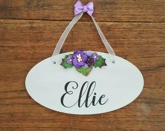 Personalised Name Wooden Hanging Sign Plaque Door Sign Girls Bedroom Decor Flower Art Nursery Room Art Kids Door Plaque