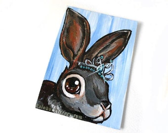 Bunny Rabbit ACEO Original, Pet Painting, Princess Decor, Crystal Tiara, Girls Room, Nursery Wall Art, Miniature Artwork, Woodland Animal