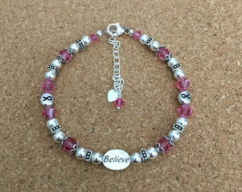 "PINK BELIEVE Bracelet - Breast Cancer Awareness - Swarovski Crystal Pink - Rhodium Ribbon Beads - Sterling Silver Beads & ""Believe"" Bead"