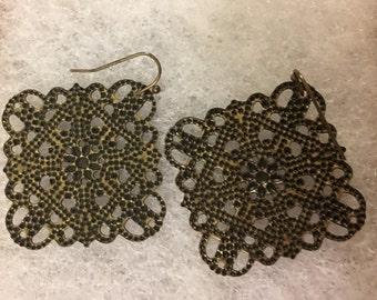 "Bronze toned Eaarings 1 1/2"" ON SALE earrings dangle"