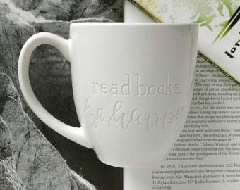 Read Books. Be Happy. Engraved Mug, Mugs for Book Lovers, Engraved Mugs, Reader Gift, Gift for Writer, Reading Mug, Pretty Mug, Quote Mugs