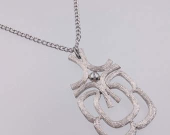 Modernist Pendant Necklace Retro Textured Brushed Silver Tone Pendant Signed Avon