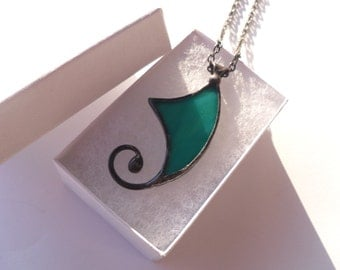Stained glass necklace, wire jewelry, gift for women, turquoise pendant, artistic jewelry, Spiral