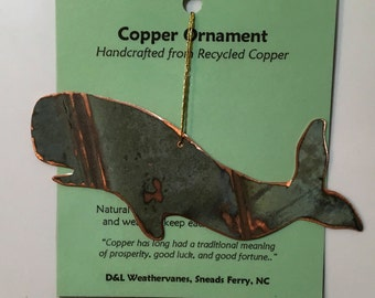 Whale Ornament - Handcrafted out of Old Recycled Copper