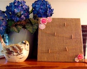 Burlap Photo board. Rustic Home Decor. Prayer Board. Burlap Shabby Chic. Pink Burlap Board. Message board. Rustic Photo Board.