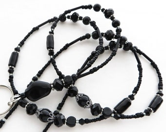 ELEGANT EVENING- Beaded ID Lanyard- Black Pearls, Czech Beads & Sparkling Crystals (Necklace Clasp)