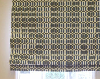 Custom Roman Shade (48 x 60) Standard - Flat with Privacy Lining and Cord Lock Lift System Send 2 yards of Your Own Fabric