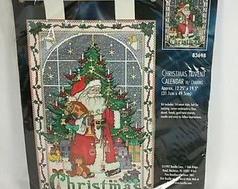 Bucilla Christmas Advent Calendar Cross Stitch Kit Santa Charms 83698 NIP 1997