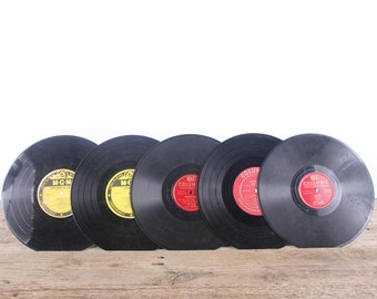 5 Vintage 78 Records / Colorful Vinyl Records / Antique Vinyl Records Decorations / Old Records / MGM Columbia / Retro Music Party Decor