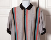 Vintage 90s Men's Polo Shirt - vertical stripe - REEBOK