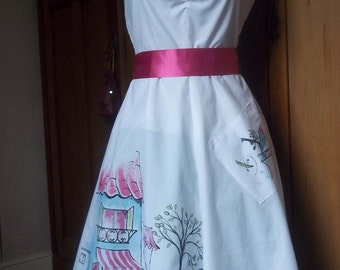 One off hand painted 1950's style summer dress