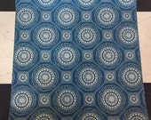 Vintage Wallpaper-1970s-cream medallions on deeo blue-by the yard